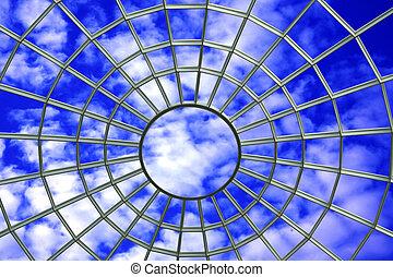 tela, en, cielo azul