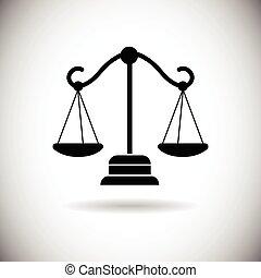 tela, escala del balance, icono