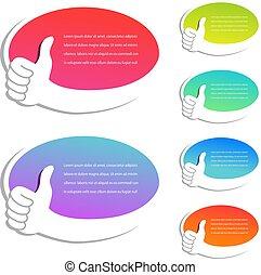 tela fa spese, affari, etichette, mano., simbolo., labels., scelta, vettore, meglio, annuncio pubblicitario, ovale, bolle, puntatore, gesto