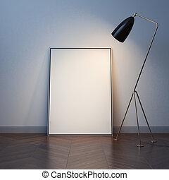 tela, floor., interpretazione, legno, vuoto, bianco, 3d