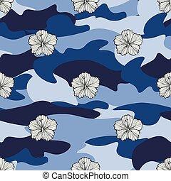 tela, flor, su, illustration., pattern., seamless, camuflaje, impresión, tropical, fondo., vector, camo, trópico, flores, clothing., diseño, repetición