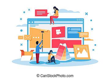 tela, gente, crear, joven, sitio, design.