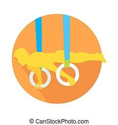 tela, gimnástico, botón, anillos, deportista, vector, hombre