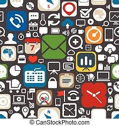 tela, gráfico, iconos, seamless, plano de fondo, interfaz
