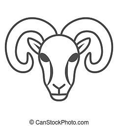 tela, graphics., granja, blanco, móvil, concepto, plano de fondo, señal, contorno, carnero, delgado, vector, estilo, sheep, icono, design., silueta, animales, concepto, icono, línea