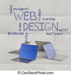tela, iconos de concepto, computador portatil, mano,...