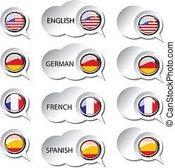 tela, idioma, -, vector, discurso, burbujas, indicador