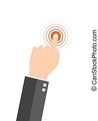 tela, ilustração, vetorial, dedo, toque, icon.