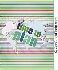 tela, ilustração, vetorial, plano, palavras, tempo, toque