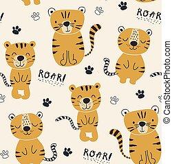 tela, ilustración, seamlesss, divertido, guardería infantil, infantil, tigres, niños, patrón, ropa