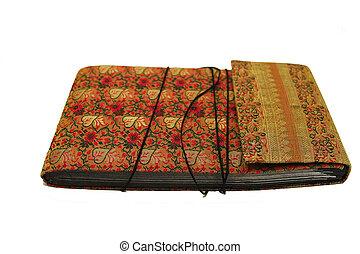tela, indio, cubierta, libro