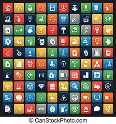 tela, industria, conjunto, 100, iconos