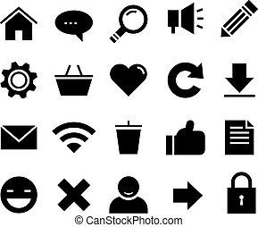 tela, internet, conjunto, icono, seo, vector, sitio web