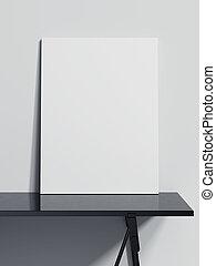 tela, interpretazione, nero, vuoto, tavola., 3d