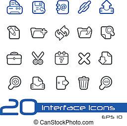 //, tela, línea, iconos, serie