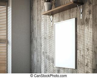 tela, legno, interior., interpretazione, parete bianco, 3d