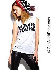 tela, look., hipster, labios, beanie, moda, encanto, hermoso, alto, modelo, mujer, rojo, colorido, elegante, joven