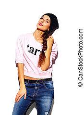 tela, look., hipster, labios, moda, encanto, hermoso, alto, rosa, modelo, suéter, mujer, rojo, elegante, joven