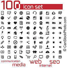 tela, medios, vector, negro, 100, icono