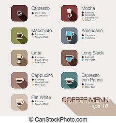 tela, menu., botones, conjunto, icono, vector, café, apps.
