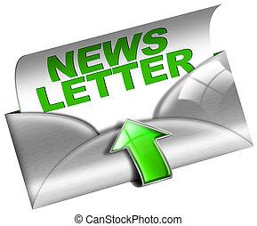 tela, metal, concepto, newsletter