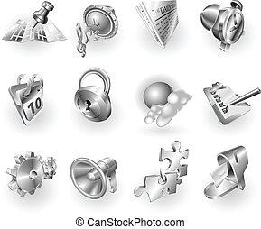 tela, metal, conjunto, icono, aplicación, metálico