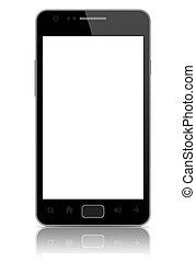 tela, modernos, isolado, telefone, em branco, esperto