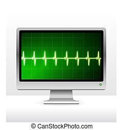 tela, monitor computador, pulso