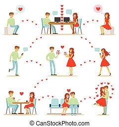 tela, mujer, amor, smartphones, app, computadoras, sitios, ilustración, infographic, descubrimiento, utilizar, fechando, hombre