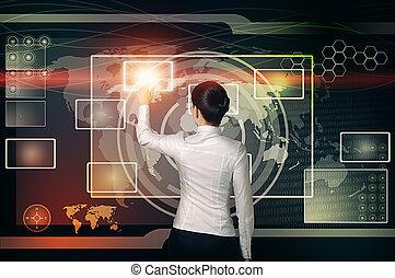 tela, mujer de negocios, botón, virtual, tacto, interfaz