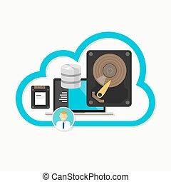 tela, nube, almacenamiento, base de datos, en línea, archive compartir, centro de datos