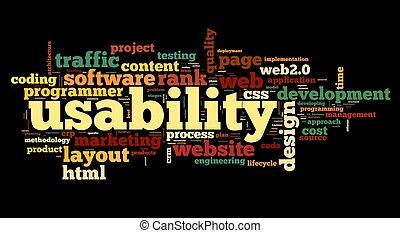 tela, nube, usability, etiqueta, negro, concepto