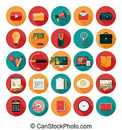 tela, oficina, mercadotecnia, icons., empresa / negocio, ...
