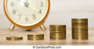tela, oro, concepto, dinero, coins, ahorros, bandera