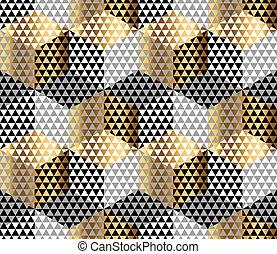 tela, oro, geometría, patrón, sample., envoltura, seamless, ...