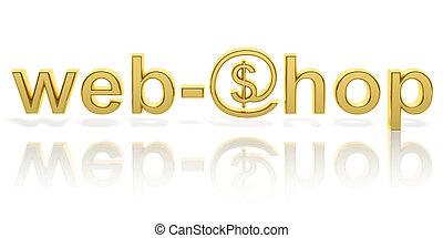 tela, oro, web-shop, texto, símbolo, aislado, dinero, 3d