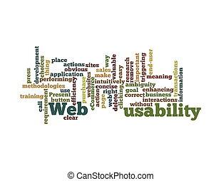 tela, palabra, aislado, plano de fondo, nube blanca, usability