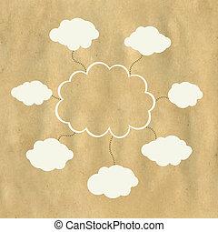 tela, papel, viejo, nube