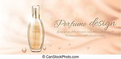 tela, paquete, perlas, liso, ilustración, perfume, vidrio,...