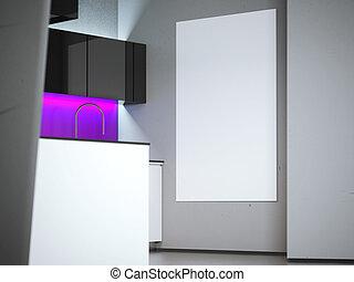 tela, parete, kitchen., interpretazione, vuoto, bianco, 3d