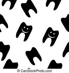 tela, patrón, símbolo, seamless, diente, vector, design.