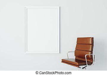 tela, poltrona, cornice, vuoto, bianco, 3d
