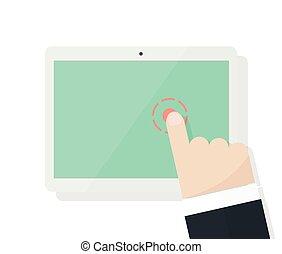 tela, pontos, dedo, caricatura