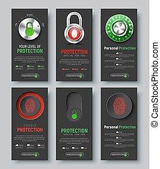 tela, proteger, conjunto, vertical, negro, banderas, information.