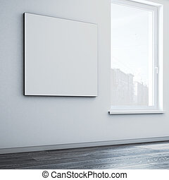 tela, quadrato, parete, interpretazione, vuoto, 3d