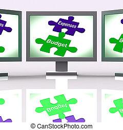 tela, Quebra-cabeça, orçamento,  bala, despesas, contabilidade, companhia, mostra