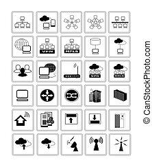 tela, red, colección, icono