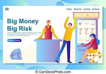 tela, riesgo, grande, casino, theme., aterrizaje, diseño, ...