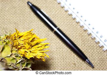 tela ruvida, cima, penna, quaderno, nero, vuoto