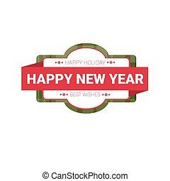 tela, saludo, decoración, laber, alegre, año, nuevo, navidad feliz, tarjeta, icono